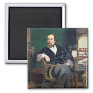 Portrait of Charles Dickens (oil on canvas) 2 Inch Square Magnet