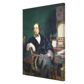 Portrait of Charles Dickens (oil on canvas) Canvas Print