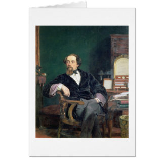 Portrait of Charles Dickens (oil on canvas) Card