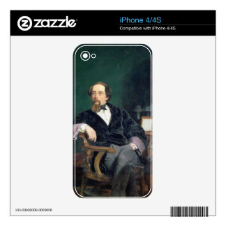 Portrait of Charles Dickens (oil on canvas) iPhone 4 Decals