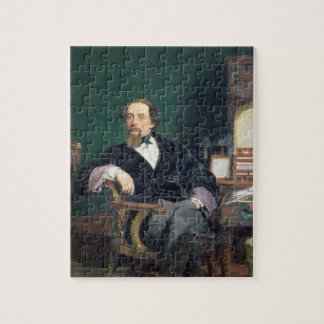 Portrait of Charles Dickens (oil on canvas) Jigsaw Puzzle