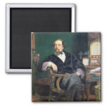 Portrait of Charles Dickens (oil on canvas) Fridge Magnets