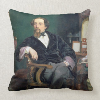 Portrait of Charles Dickens (oil on canvas) Throw Pillow