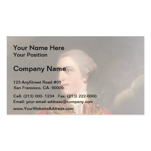 Portrait of Charles Fitzroy by Joshua Reynolds Business Card Template