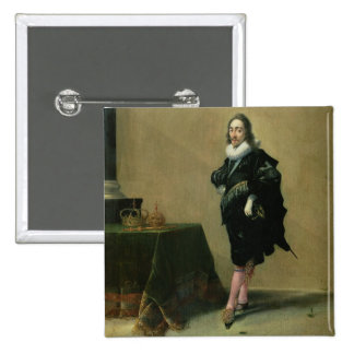 Portrait of Charles I (1600-49) 1632 (oil on panel Pinback Button