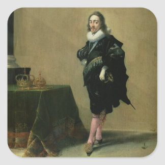 Portrait of Charles I 1600-49 1632 oil on panel Square Sticker