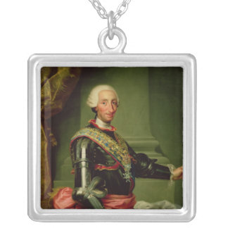 Portrait of Charles III  c.1761 Silver Plated Necklace