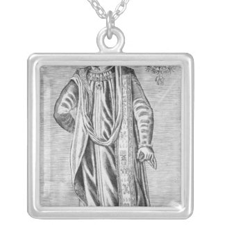 Portrait of Charles V , Holy Roman Emperor Square Pendant Necklace
