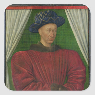 Portrait of Charles VII, c.1445-50 Square Sticker
