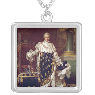 Portrait of Charles X  in Coronation Robes, 1827 Square Pendant Necklace