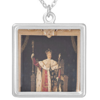 Portrait of Charles X  in Coronation Robes, 1829 Square Pendant Necklace