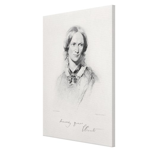 Portrait of Charlotte Bronte, engraved by Walker a Canvas Print