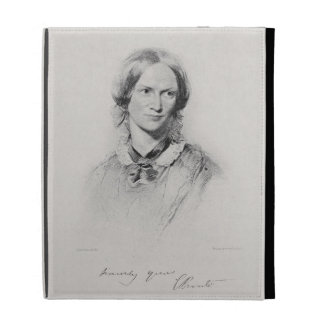 Portrait of Charlotte Bronte, engraved by Walker a iPad Folio Cases