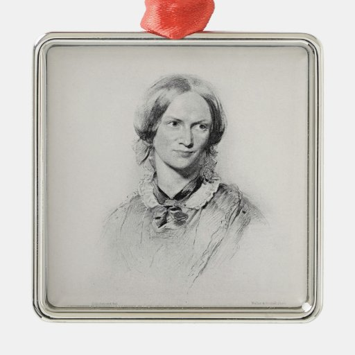 Portrait of Charlotte Bronte, engraved by Walker a Christmas Tree Ornament