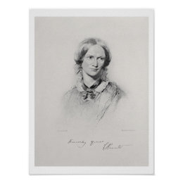 Portrait of Charlotte Bronte, engraved by Walker a Poster