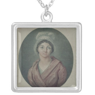 Portrait of Charlotte Corday  after 1793 Silver Plated Necklace