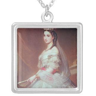 Portrait of Charlotte of Saxe-Cobourg-Gotha Square Pendant Necklace