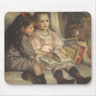 Portrait of Children, Renoir Vintage Impressionism Mouse Pads