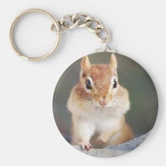 portrait of chipmunk with full cheeks keychain