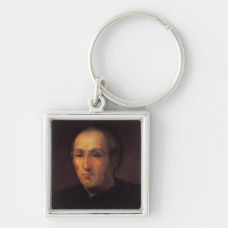 Portrait of Christopher Columbus Silver-Colored Square Keychain