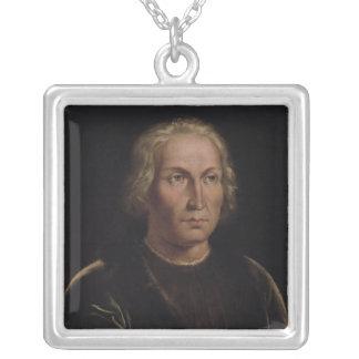 Portrait of Christopher Columbus Square Pendant Necklace