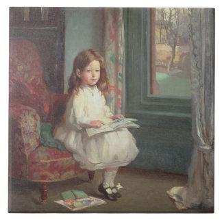 Portrait of Clara Hughes, 1902 (oil on canvas) Large Square Tile