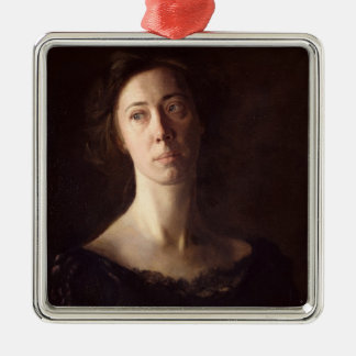 Portrait of Clara J. Mather Metal Ornament