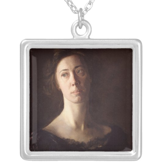 Portrait of Clara J. Mather Silver Plated Necklace
