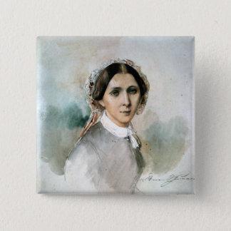 Portrait of Clara Schumann  1853 Button