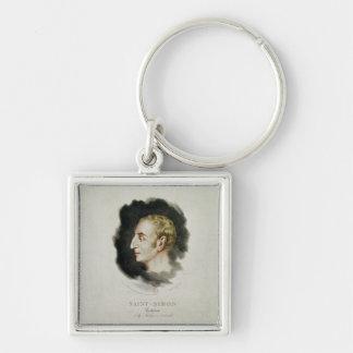 Portrait of Claude Henri de Rouvroy Silver-Colored Square Keychain