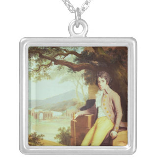 Portrait of Colonel David La Touche of Marcey Silver Plated Necklace