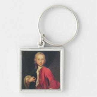 Portrait of Comte Maurice de Saxe Silver-Colored Square Keychain
