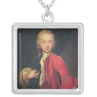 Portrait of Comte Maurice de Saxe Square Pendant Necklace