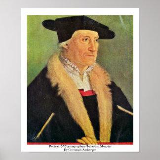 Portrait Of Cosmographers Sebastian Munster Poster