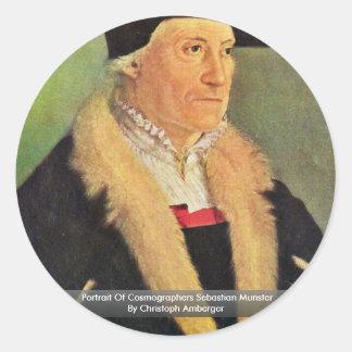 Portrait Of Cosmographers Sebastian Munster Round Stickers