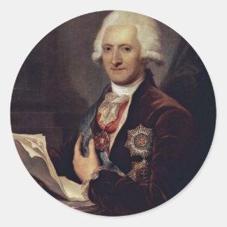Portrait Of Count Johann Jakob Sievers By Grassi J Round Stickers