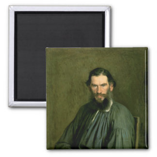 Portrait of Count Lev Nikolaevich Tolstoy  1873 2 Inch Square Magnet