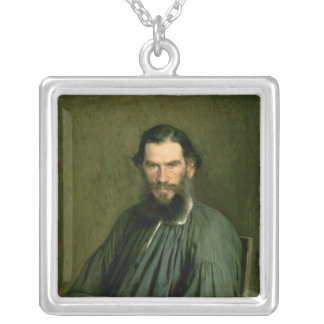 Portrait of Count Lev Nikolaevich Tolstoy  1873 Silver Plated Necklace