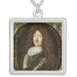 Portrait of Count Roger Bussy de Rabutin Square Pendant Necklace
