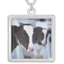 Portrait of cow silver plated necklace