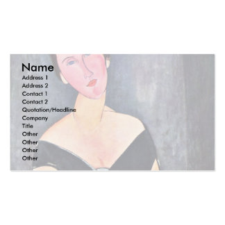 Portrait Of Dame Van Muyden By Modigliani Amedeo Business Card Templates