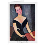 Portrait Of Dame Van Muyden By Modigliani Amedeo Card
