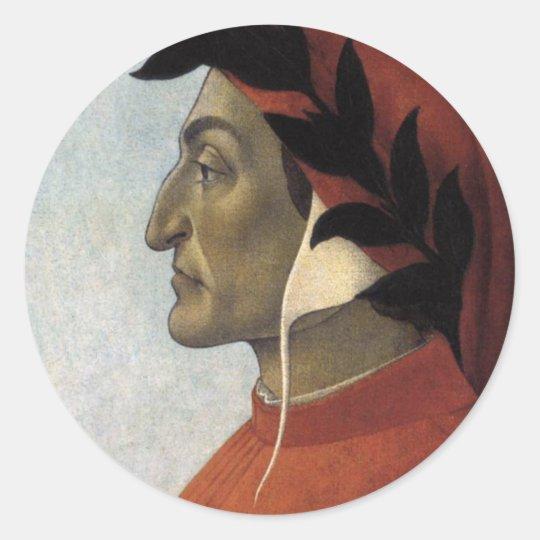 Portrait of Dante Classic Round Sticker