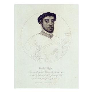Portrait of David Rizio,an original painted Postcard
