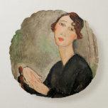 Portrait of Dedie Hayden, 1918 Round Pillow
