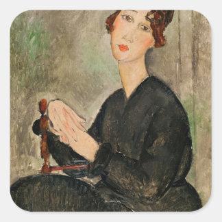 Portrait of Dedie Hayden, 1918 Square Stickers