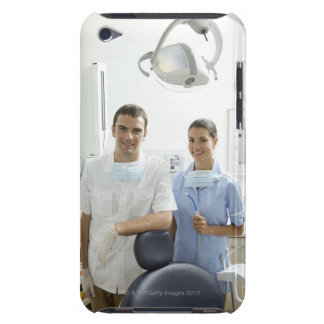 Portrait of dentist and his assistant in a barely there iPod cases