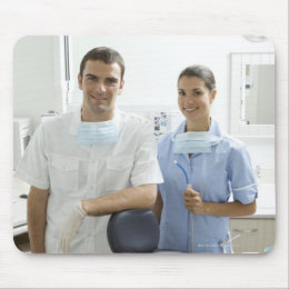 Portrait of dentist and his assistant in a mouse pad