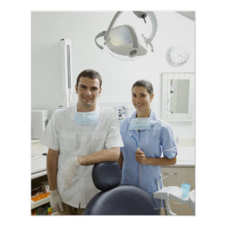 Portrait of dentist and his assistant in a poster