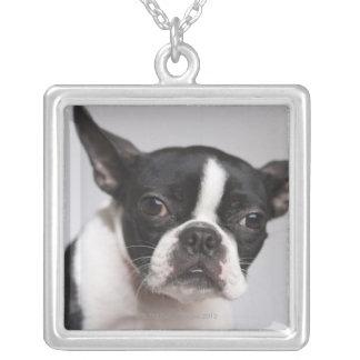 Portrait of dog square pendant necklace